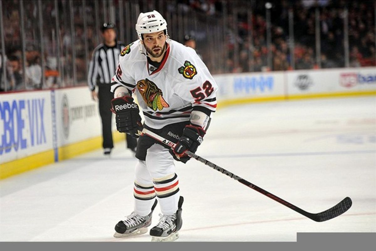 Chicago Blackhawks left wing Brandon Bollig played at St. Lawrence from 2008-2010.