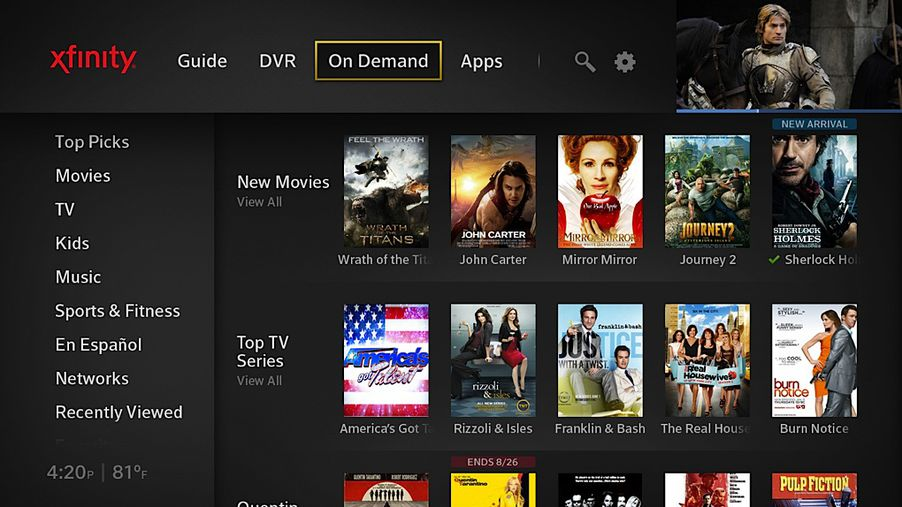 Comcast S New X1 Ui Integrates Real Time And Streaming Tv