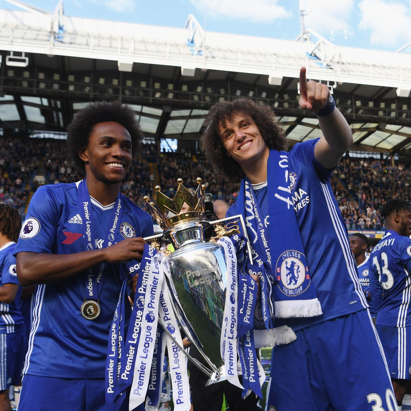 Image result for David Luiz with Willian
