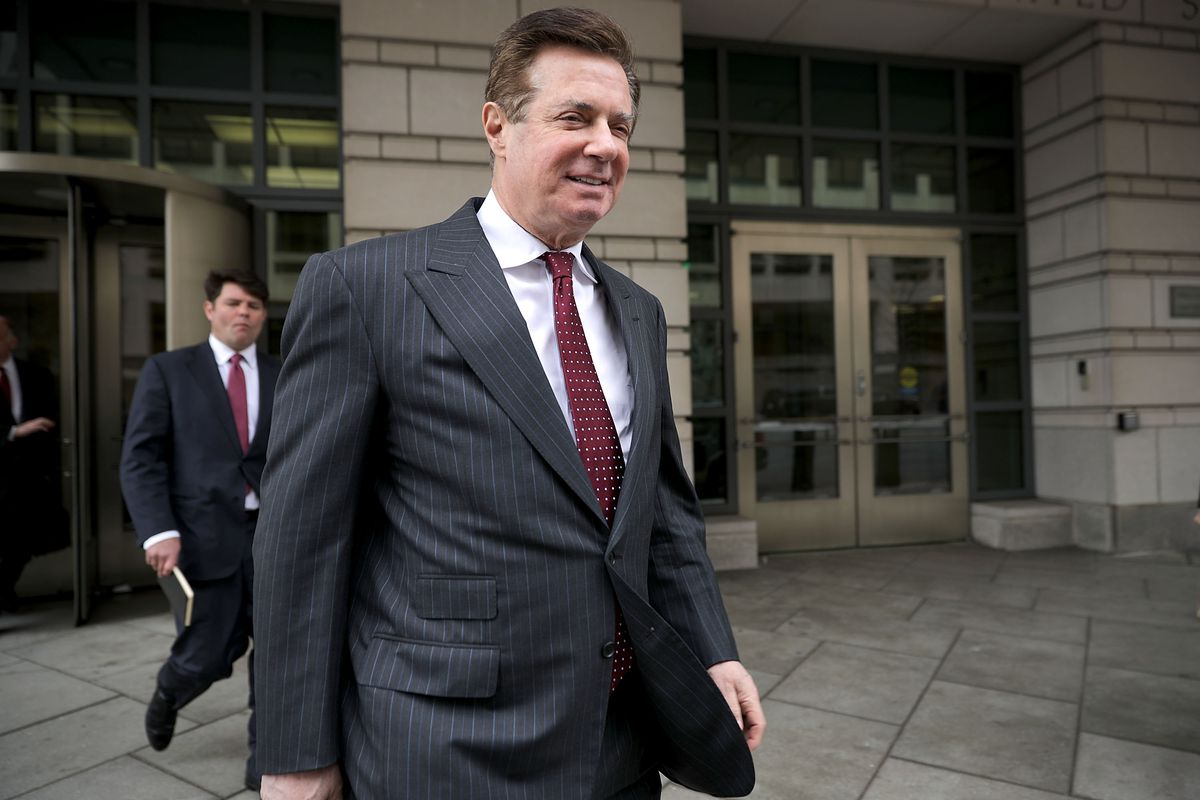 Former Trump Campaign manager Paul Manafort leaves a courthouse following a hearing on April 4, 2018.