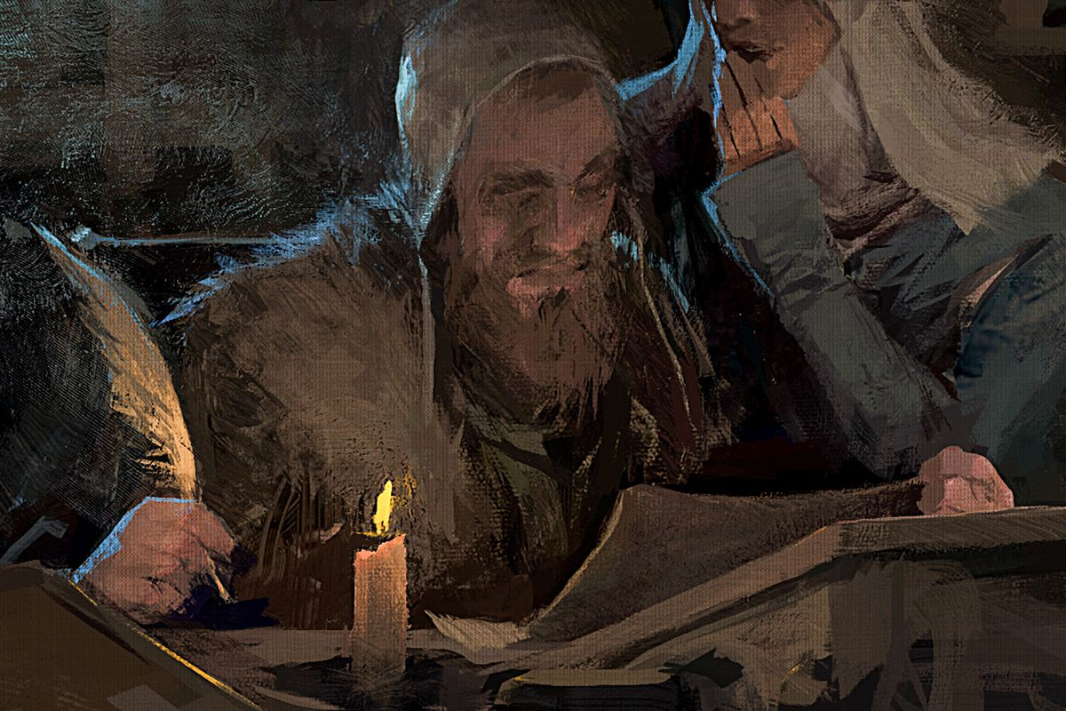 A scribe hears a secret whispered in his ear in a piece of in-fiction art from Crusader Kings 3.