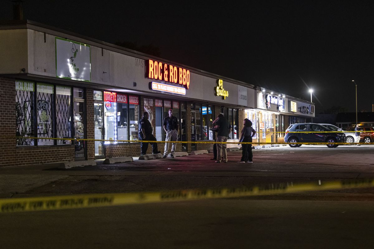 Police investigate the scene at 1655 Sibley Blvd in Calumet City, where a person was killed in a shooting involving Chicago police officers Tuesday, July 27, 2021.