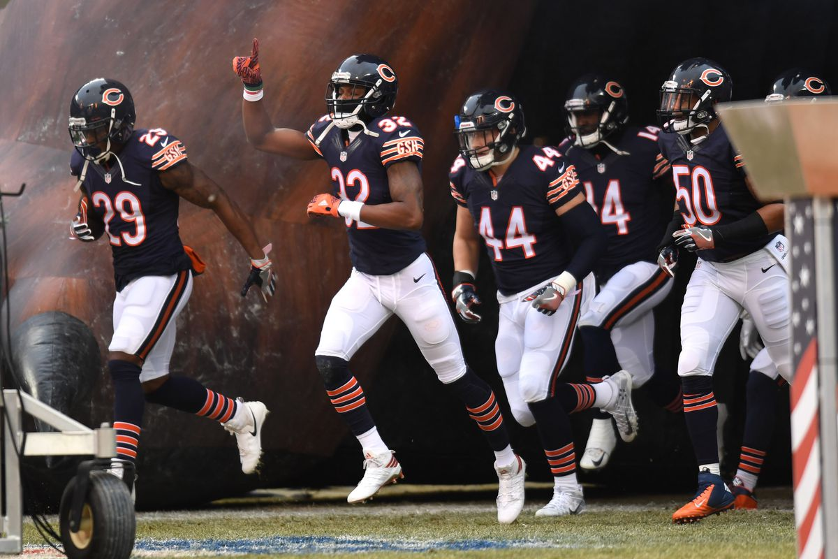 Chicago Bears Defensive back Deiondre' Hall enters the field with teammates prior to a game against the Washington Redskins at Soldier Field.