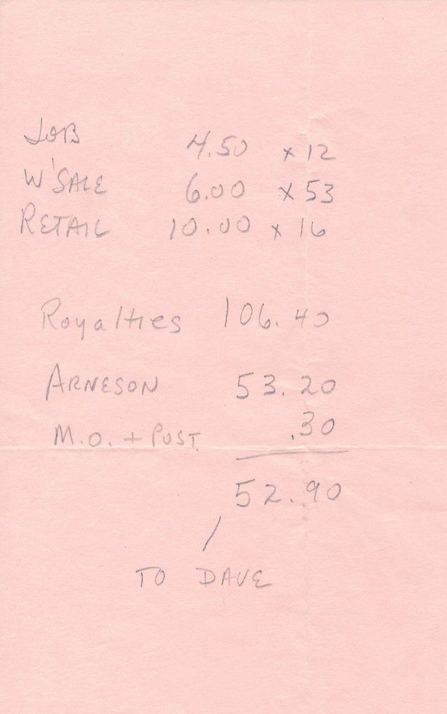 A piece of paper in Gygax's own hand showing the royalties due to Dave Arneson.
