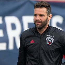 FOXBOROUGH, MA - MAY 25: D.C. United coach Ben Olsen heads to the bench prior to the game against the New England Revolution at Gillette Stadium on May 25, 2019 in Foxborough, Massachusetts. (Photo by J. Alexander Dolan - The Bent Musket)