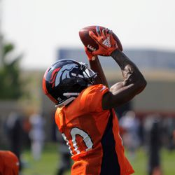 Broncos WR Emmanuel Sanders goes up and grabs a pass.