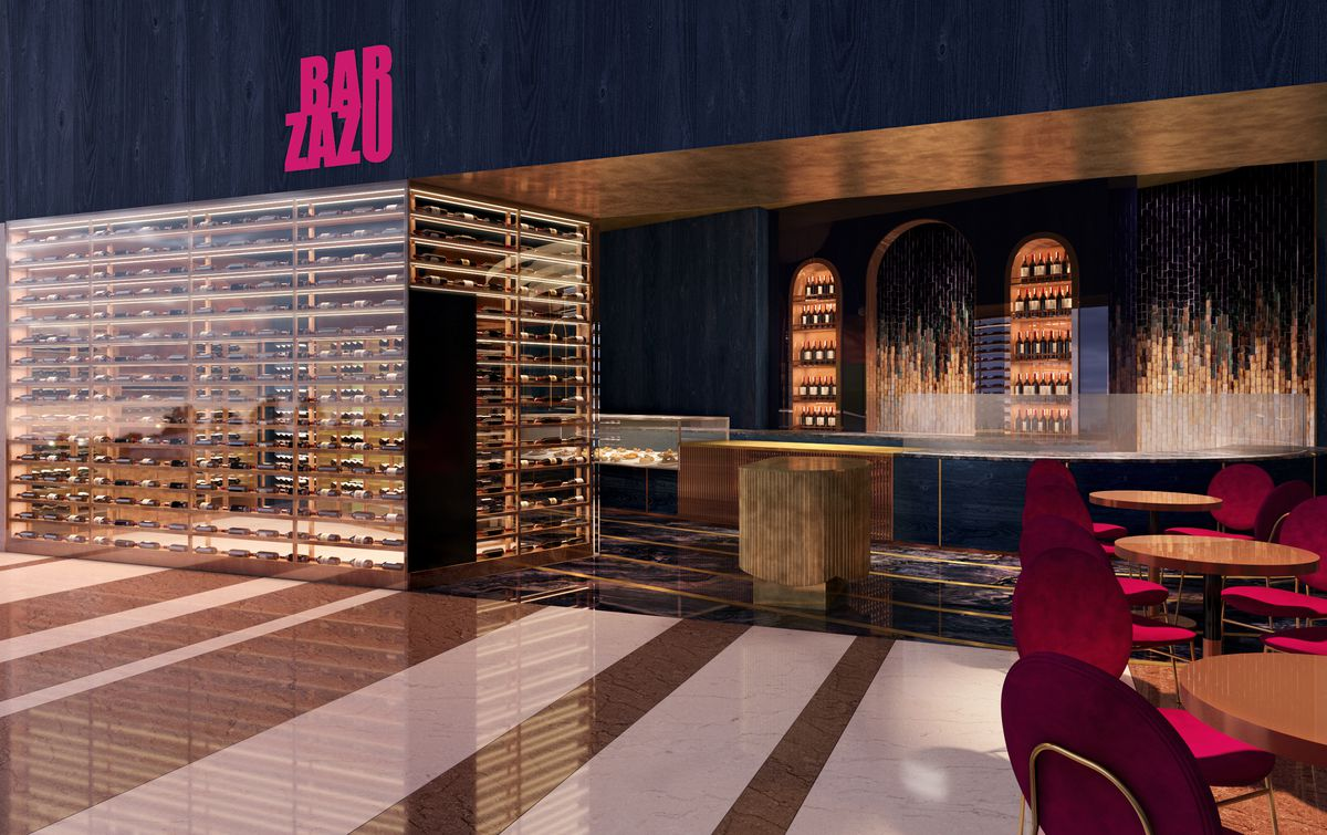 A rendering of the entrance to Bar Zazu