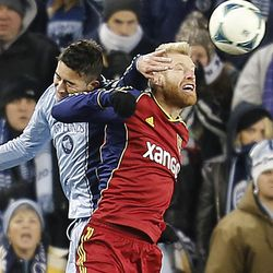 Kansas City's Claudio Bieler and Real's Nat Borchers battle for the ball as Real Salt Lake and Sporting KC play Saturday, Dec. 7, 2013 in MLS Cup action. Sporting KC won in a shootout.