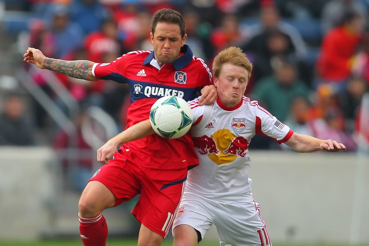 Daniel Paladini (left) earned MOTM honors Sunday afternoon in the Chicago Fire's 3-1 win over the New York Red Bulls