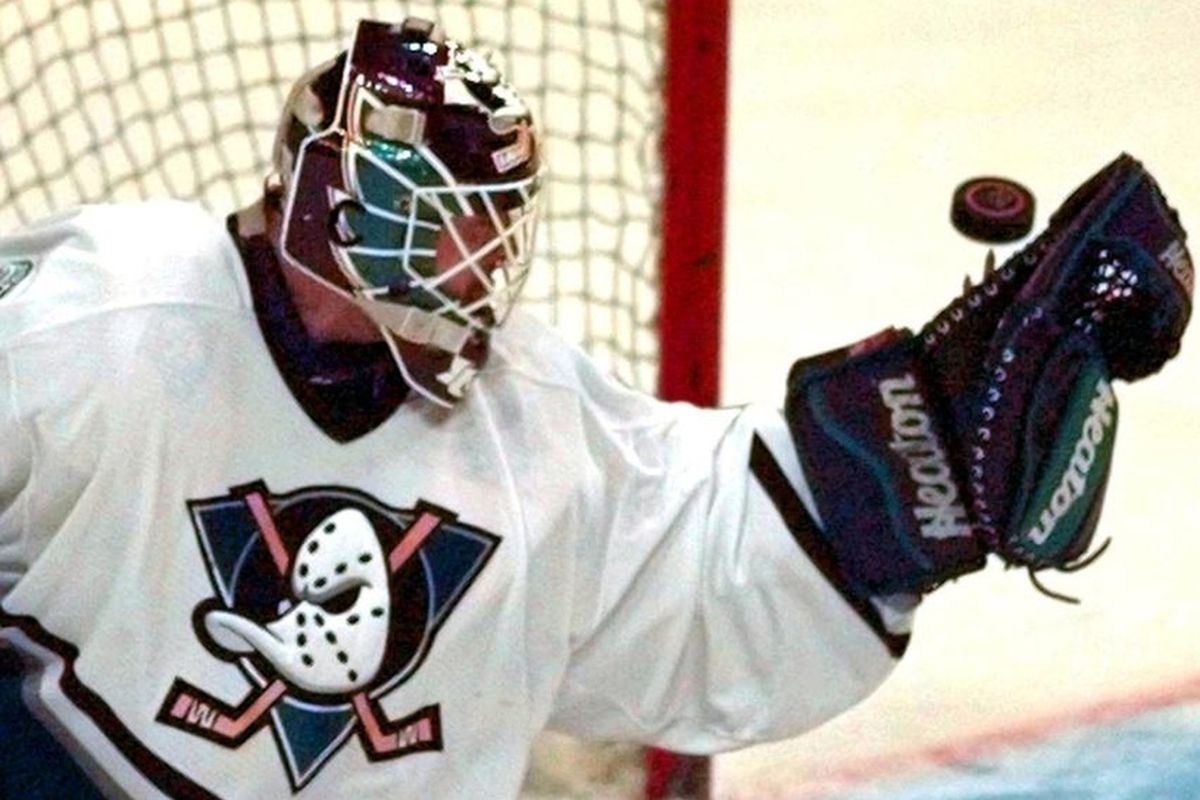 Guy Hebert makes a save for the Mighty Ducks.