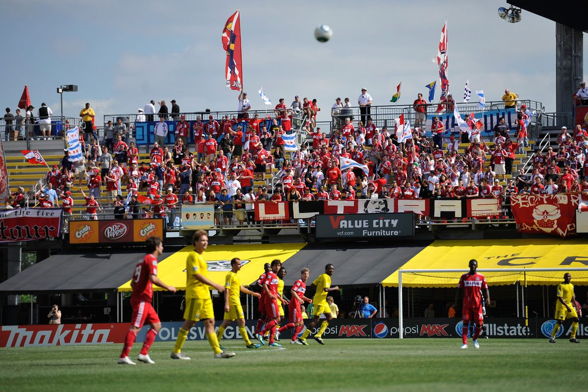 COLUMBUS, OH - JUNE 12:  A large group of Chicago Fire fans cheer on their team during the first half against the Columbus Crew on June 12, 2011 at Crew Stadium in Columbus, Ohio.   (Photo by Jamie Sabau/Getty Images)