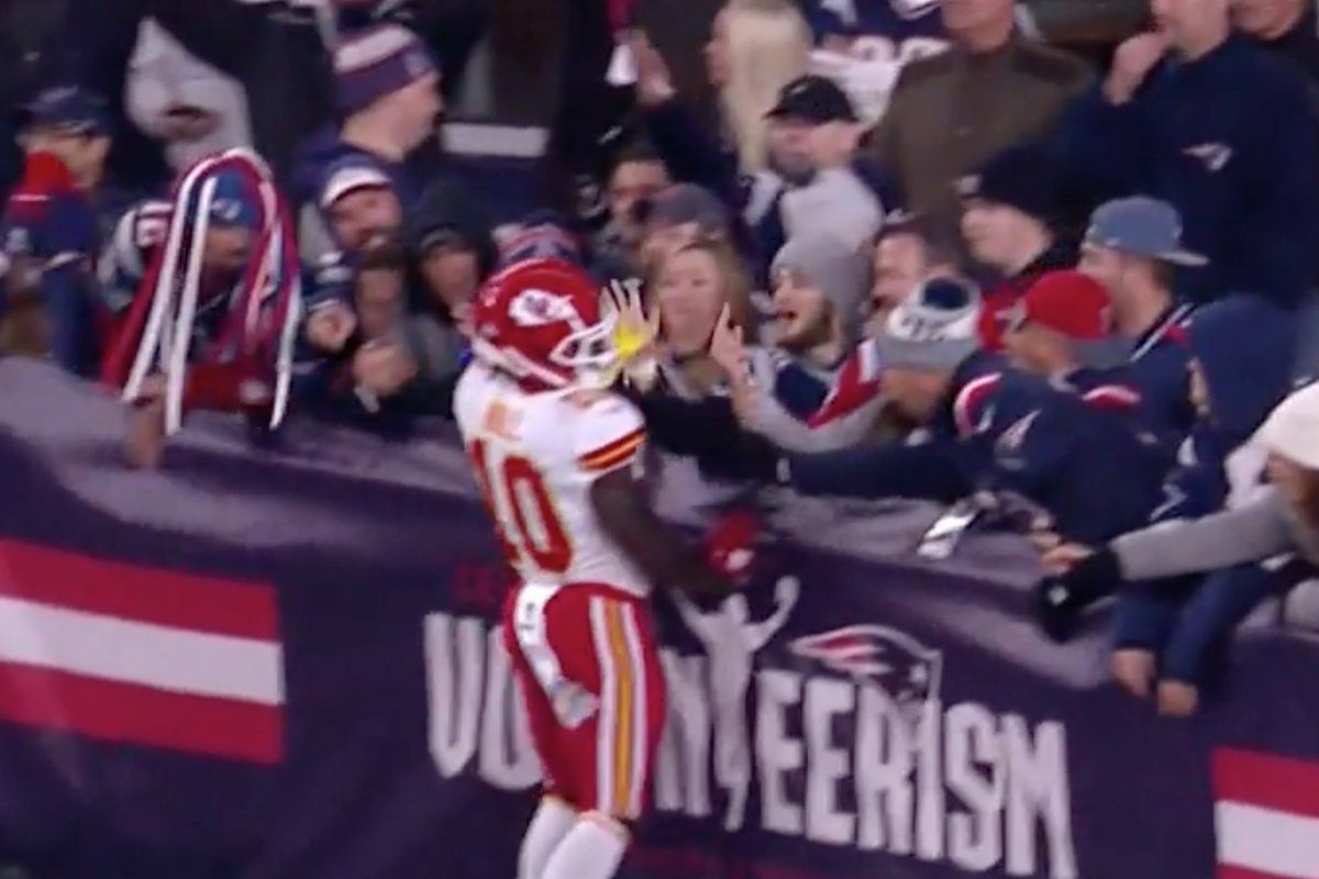 meet 7e954 16ae5 Patriots turned the fan who threw beer on Tyreek Hill over ...