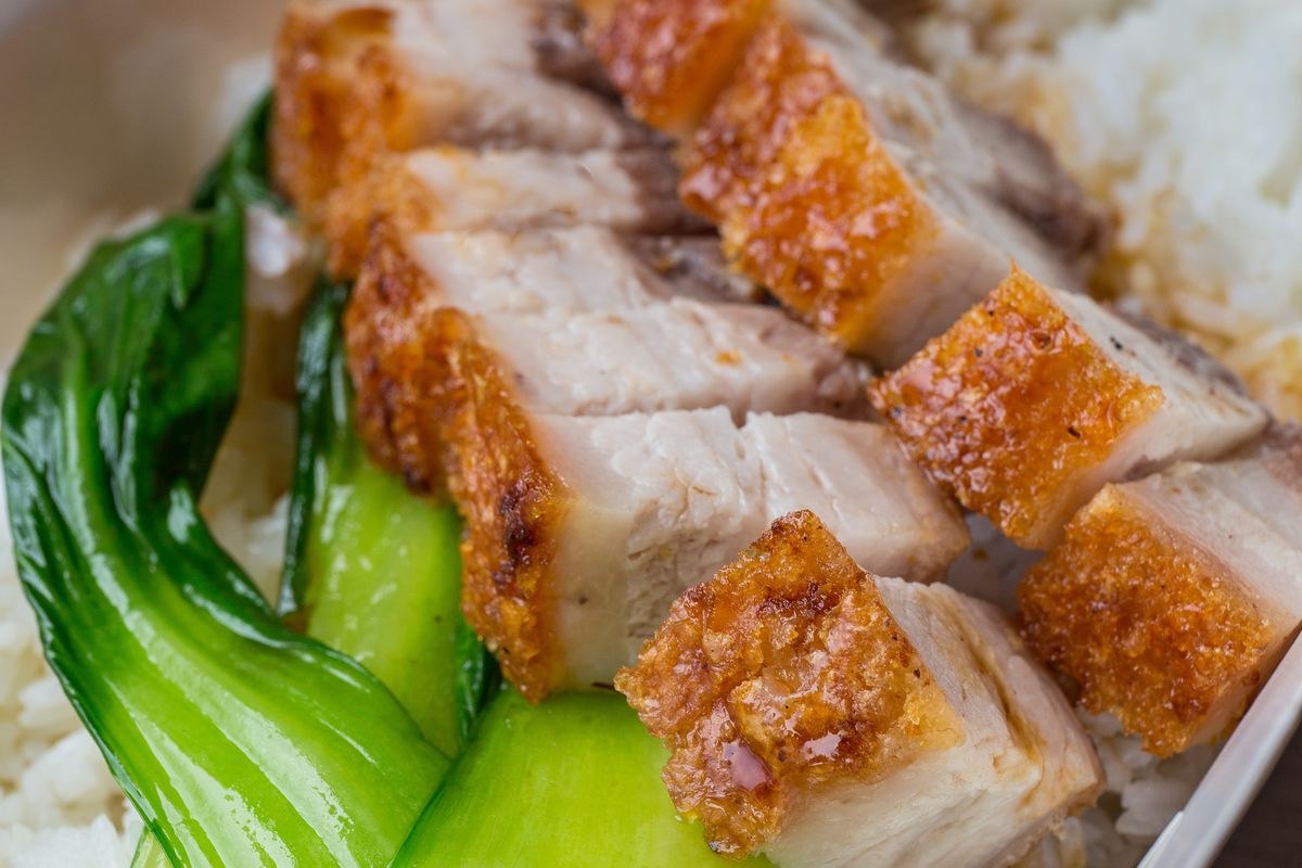 Three Uncles' roast pork belly, with Chinese greens and rice —available on Devonshire Row, near Liverpool Street next week