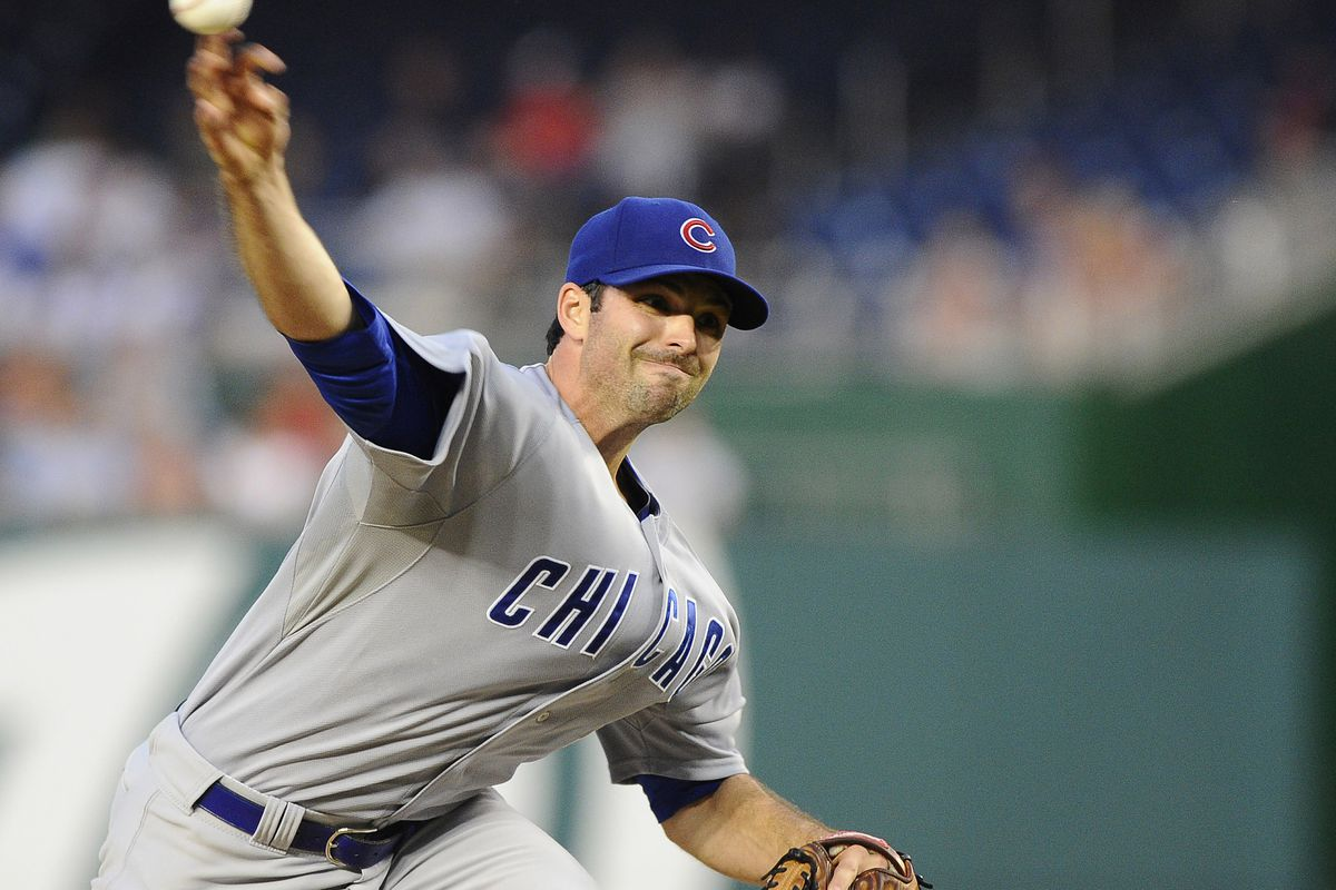 Washington, DC, USA; Chicago Cubs starting pitcher Justin Germano throws against the Washington Nationals at Nationals Park. Credit: Brad Mills-US PRESSWIRE