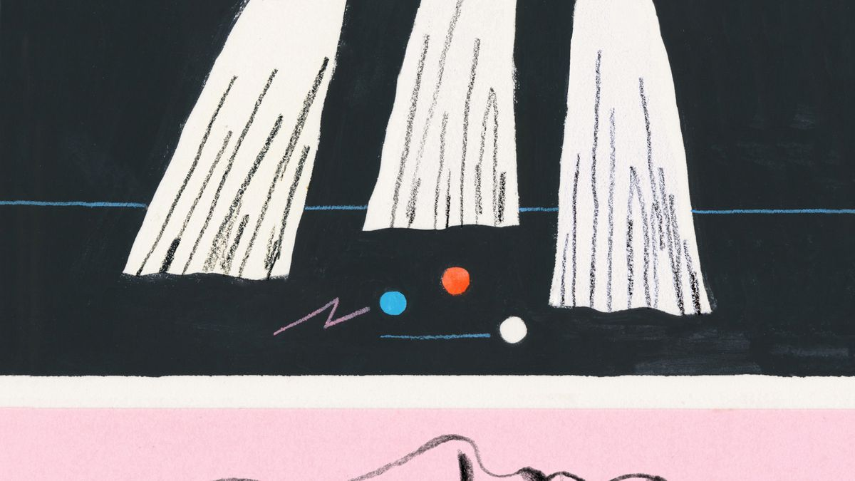 illustration of ghosts and marbles on ground