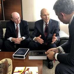 From left, Elder Enrique R. Falabella, General Authority Seventy, Elder Quentin L. Cook of the Quorum of the Twelve Apostles, and President Russell M. Nelson of The Church of Jesus Christ of Latter-day Saints meet with Colombia President Iván Duque Márquez, right, in Bogota, Colombia, Monday Aug. 26, 2019.