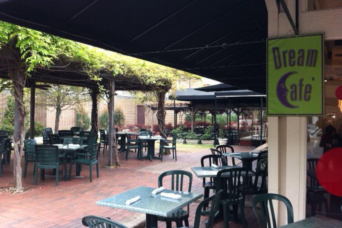 The patio at Dream Cafe's Quadrangle location.