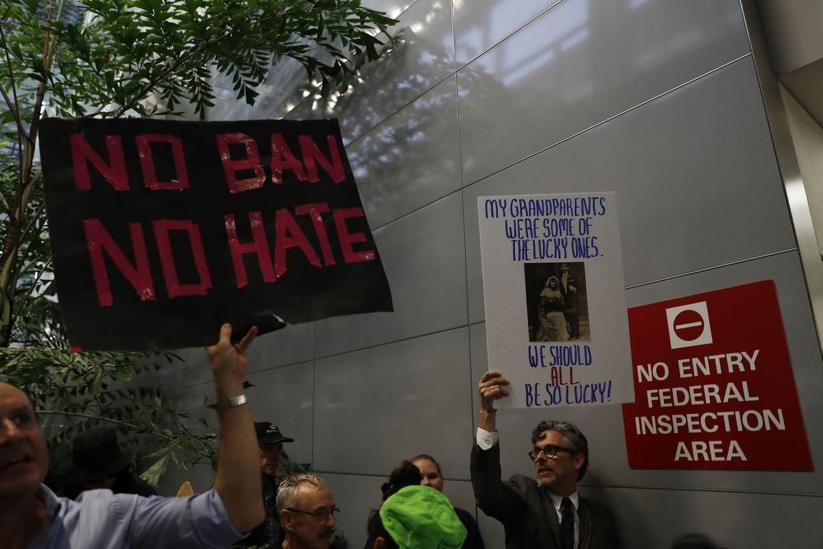 Protestors Rally Against Muslim Immigration Ban At San Francisco Int'l Airport.