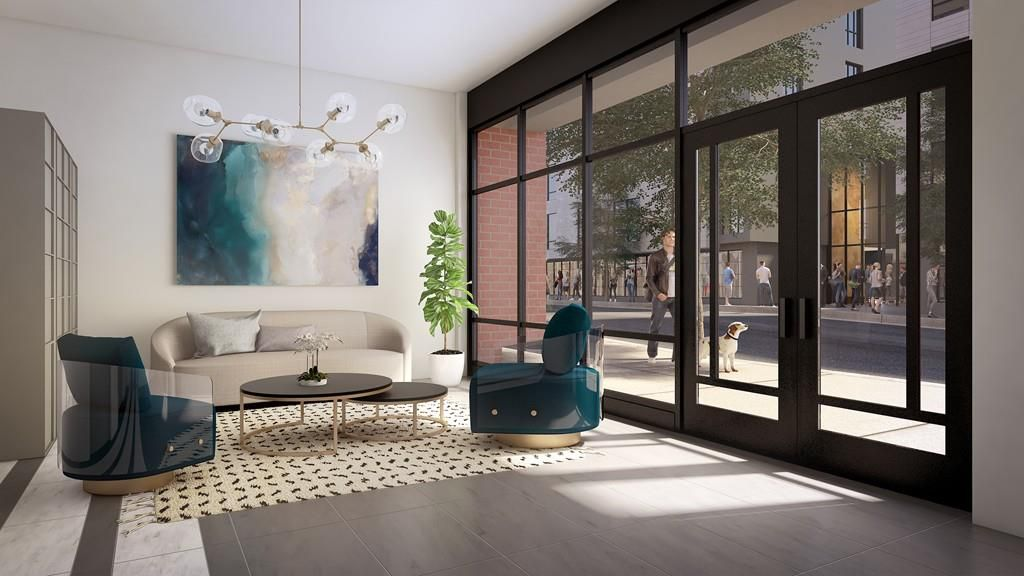 Rendering of the lobby of a building with furniture.