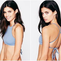 """<b>Made by Dawn</b> High Neck Crop Top in Powder (more colors available), <a href=""""http://www.freepeople.com/clothes-swim-bikini-tops/high-neck-crop-top/_/PRODUCTOPTIONIDS/F93C517E-BF11-4CB1-B91C-23B8DBD65F8E/"""">$68</a>"""