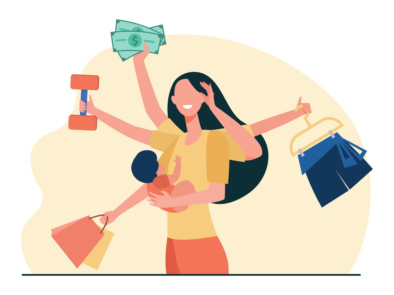 Illustration of a mom with many arms holding symbolic objects like clothes, money, and a child.