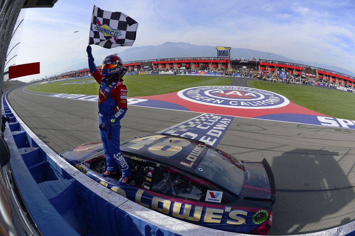 Nascar Fontana 2016 Results Jimmie Johnson Wins Auto Club 400