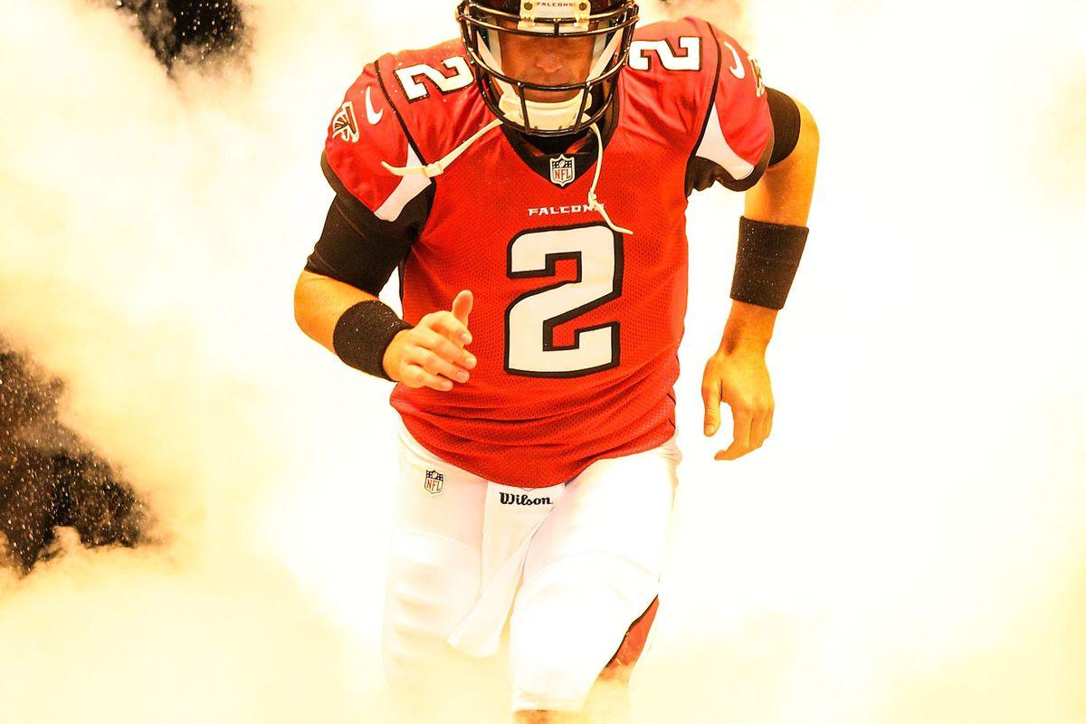 August 9, 2012; Atlanta, GA, USA; Atlanta Falcons quarterback Matt Ryan (2) runs on the field before the game against the Baltimore Ravens at the Georgia Dome. Mandatory Credit: Daniel Shirey-US PRESSWIRE