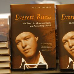 Book covers of Pulitzer Prize winner Philip Fradkin who was speaking about his latest book about the life of Everett Ruess, a young explorer and artist who disappeared in the canyons of Southern Utah in the 1930s at the Marriott Library and the University of Utah Sunday, Sept. 25, 2011, in Salt Lake City, Utah.