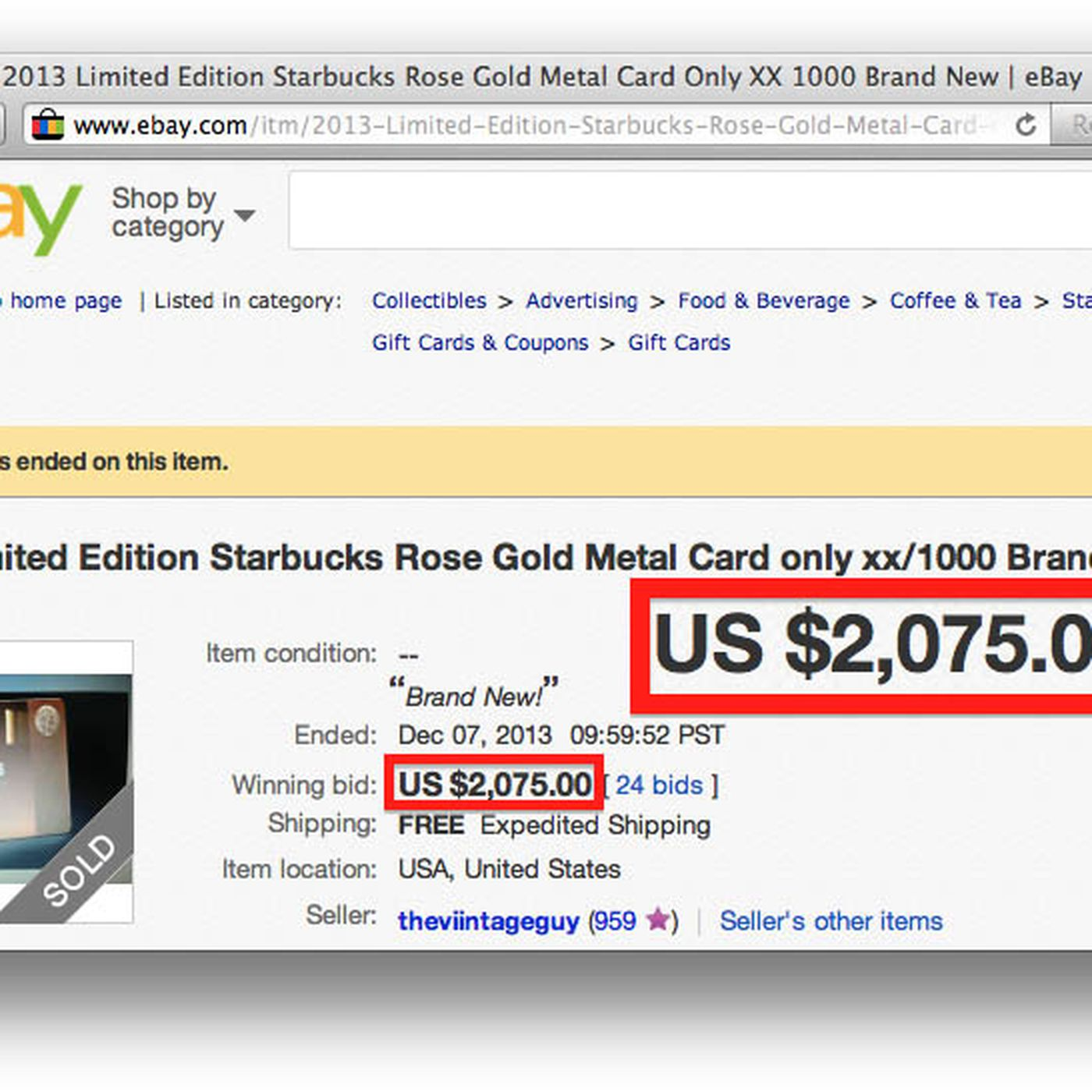 Starbucks\' $450 Metal Gift Cards Are Selling for Over $2,000 on eBay ...