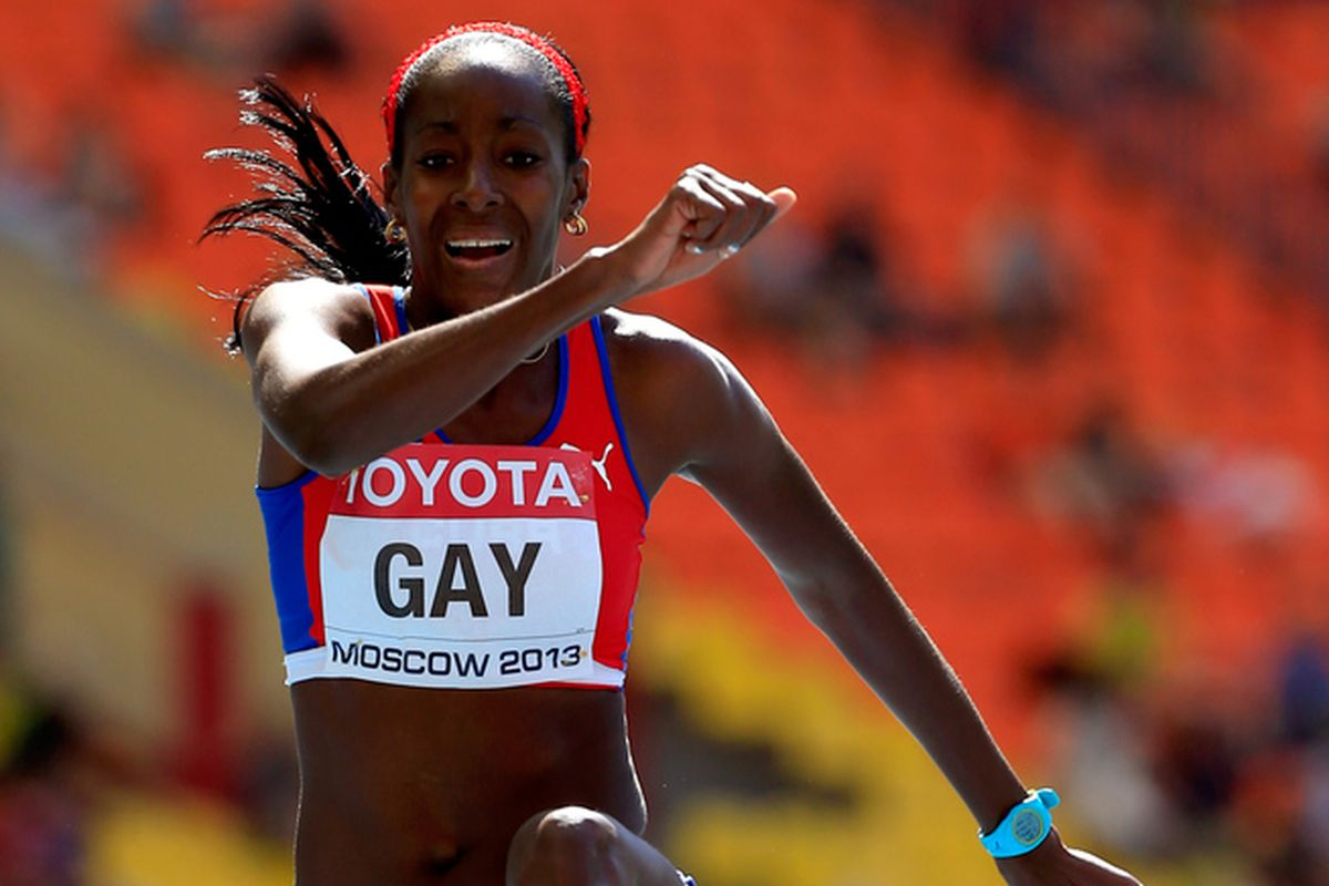 MOSCOW, RUSSIA - AUGUST 13: Mabel Gay of Cuba competes in the Women's Triple Jump qualification during Day Four of the 14th IAAF World Athletics Championships Moscow 2013 at Luzhniki Stadium on August 13, 2013 in Moscow, Russia.