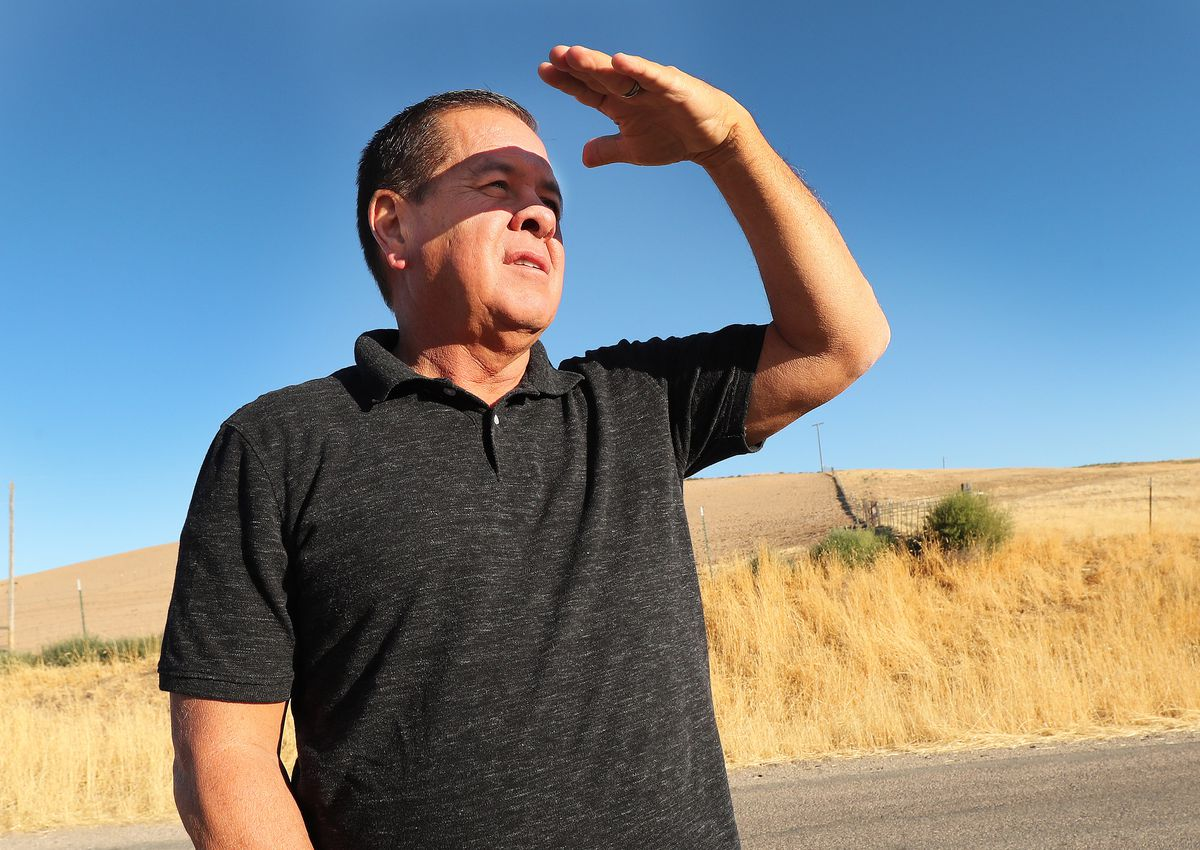 Shoshone Nation Chairman Darren Parry looks over land on Aug. 29, 2018, where the Bear River Massacre took place near Preston, Idaho. Money is being raised to build the Cultural Interpretive Center.