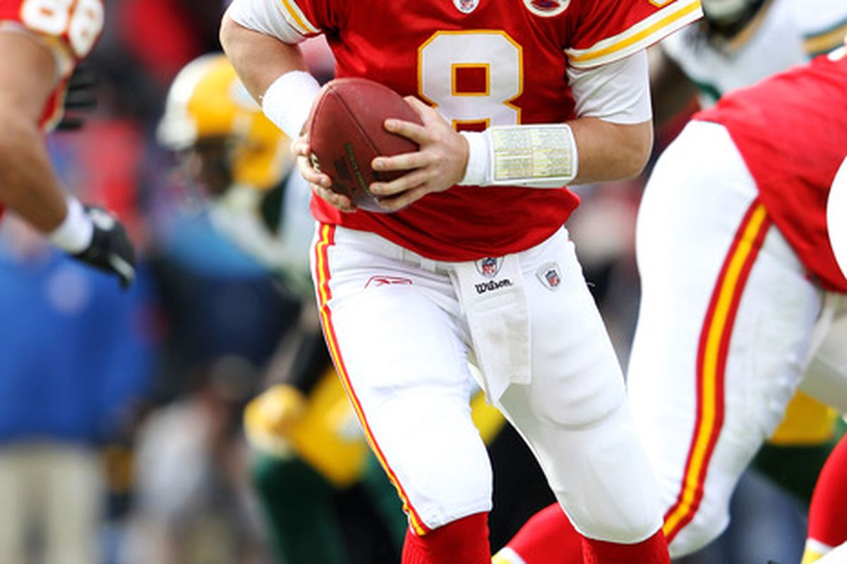 KANSAS CITY, MO - DECEMBER 18:  Quarterback Kyle Orton #8 of the Kansas City Chiefs in action during the game against the Green Bay Packers on December 18, 2011 at Arrowhead Stadium in Kansas City, Missouri.  (Photo by Jamie Squire/Getty Images)