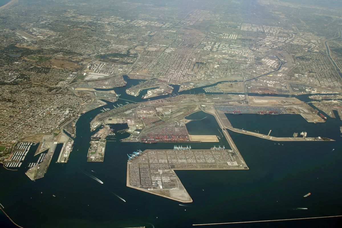 Aerial view of Port of LA