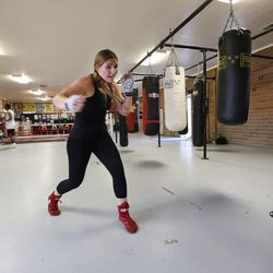 Boxer Whitney Gomez shadow boxes during her workout at Fullmer Brothers Boxing Gym in South Jordan on Wednesday, June 7, 2017.