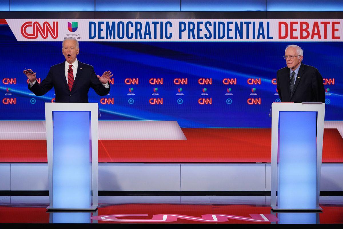 Democratic presidential hopefuls former Vice President Joe Biden and Sen. Bernie Sanders debate on March 15, 2020.
