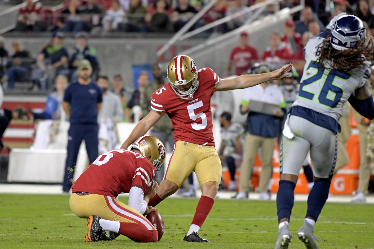 San Francisco 49ers kicker Chase McLaughlin kicks a field goal against the Seattle Seahawks during the first half at Levi's Stadium.