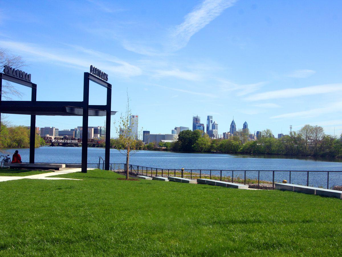 A view of Bartram's Mile looking toward Center City skyline in Philadelphia.