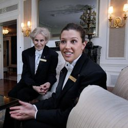 Waiters Barbara Maly, left, and Jennifer Giacche are interviewed at New York's St. Regis Hotel, Wednesday, March 14, 2012. A century after the Titanic sank, the legacy of the ship's wealthiest and most famous passenger, John Jacob Astor, quietly lives on at the luxury hotel he built in New York City.