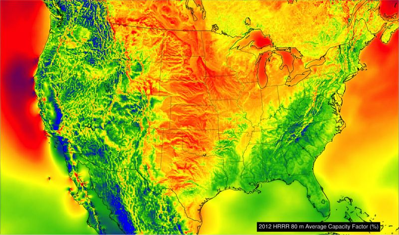 Wind power potential across the US.