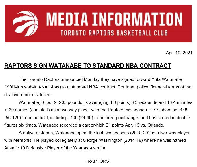 Report: Toronto Raptors sign Yuta Watanabe to standard NBA deal