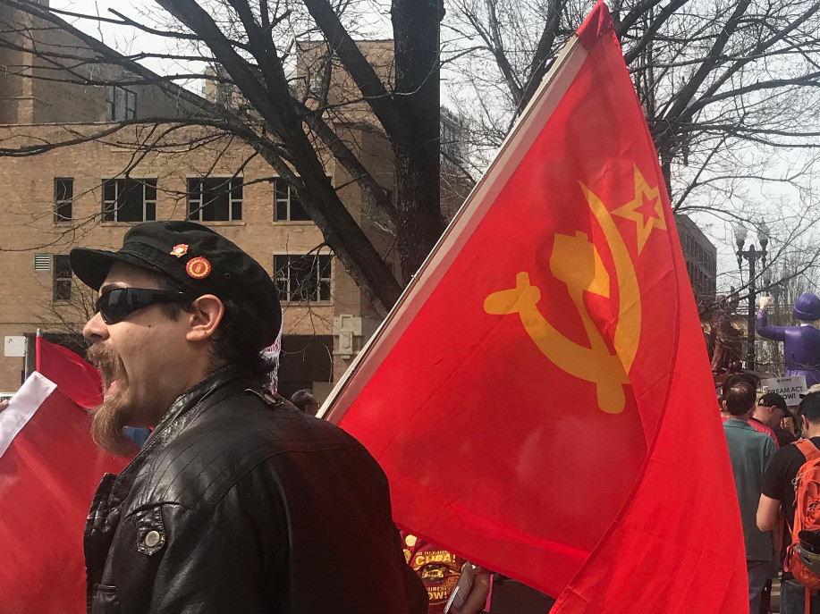 Jeremiah Boska, of Fox Lake, attends a May Day rally Tuesday, May 1, 2018 at the Haymarket Monument on the Near West Side. | Matthew Hendrickson/Sun-Times