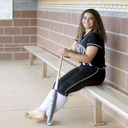 Ms. Softball Chloe Borges poses for photos in the softball dugout at Riverton High School in Riverton on Tuesday, June 8, 2021.