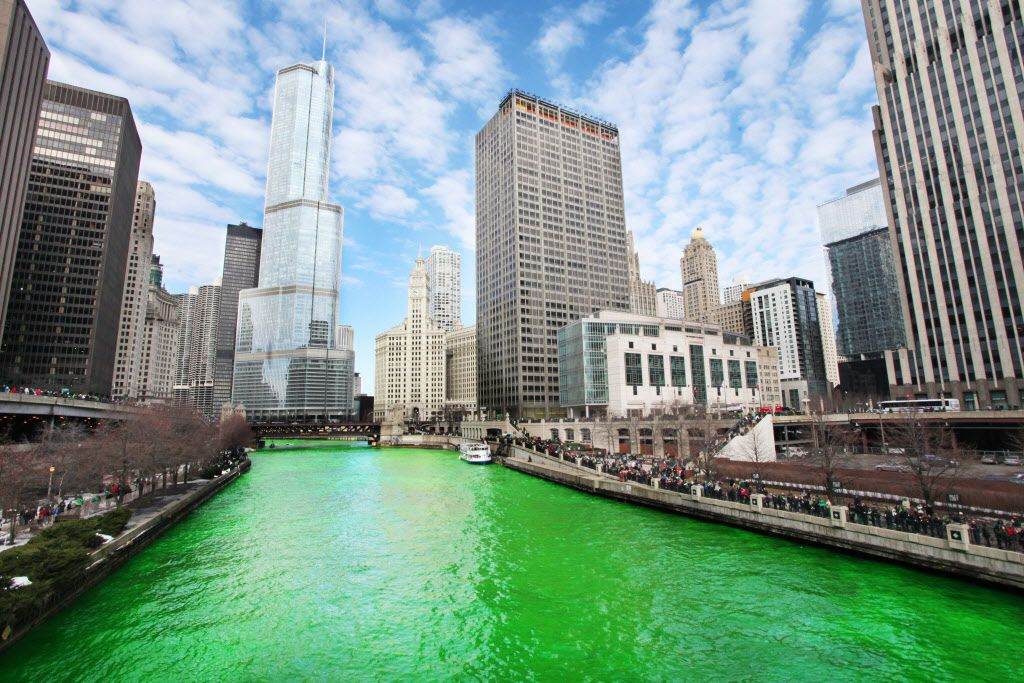 The finished product: the Chicago River, turned green for St. Patrick's Day on March 15, 2014. | Chandler West / Sun-Times