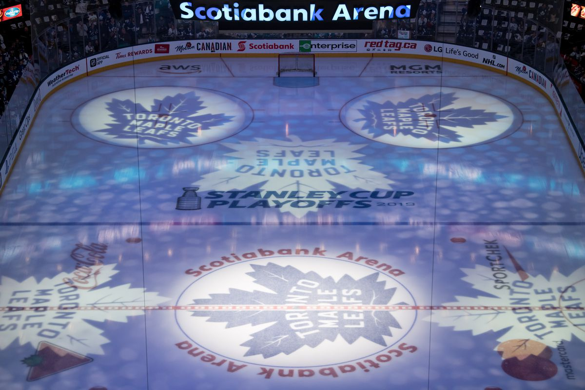 General view of Scotiabank Arena before Game 6 of the First Round Stanley Cup Playoffs series between the Boston Bruins and the Toronto Maple Leafs on April 21, 2019, at Scotiabank Arena in Toronto, ON.