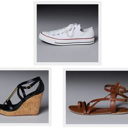 """Wear some sneakers for traveling, and pack flat sandals and versatile wedges that can go from day to night. <a href=""""http://www.southmoonunder.com/Converse-Chuck-Taylor-All-Star-Core-Shoes/159845,default,pd.html"""">Converse Chuck Taylors</a>, $50; <a href="""""""