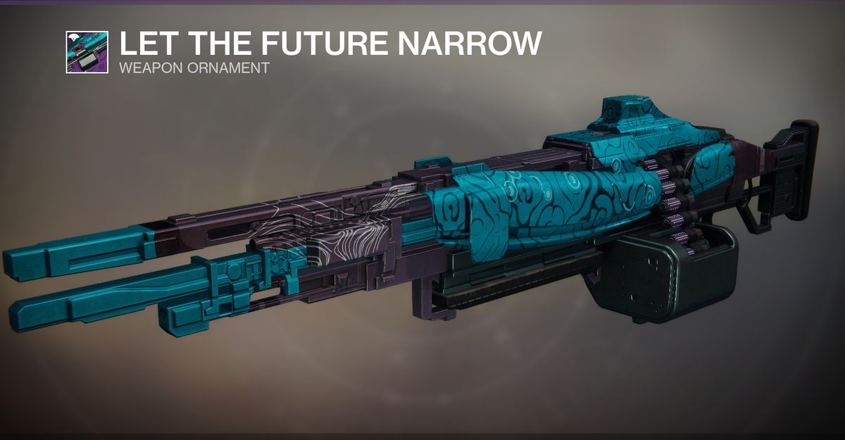 The Let the Future Narrow weapon ornament for Destiny 2's Temporal Clause Machine Gun