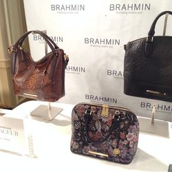 """Local handbag line <a href=""""http://la.racked.com/archives/2013/03/07/handbag_line_brahmin_rented_out_bagatelle_for_press_last_night.php"""">Brahmin</a> was a big crowd-pleaser, offering statement handbags and giving guests a sneak peek at the upcoming collec"""
