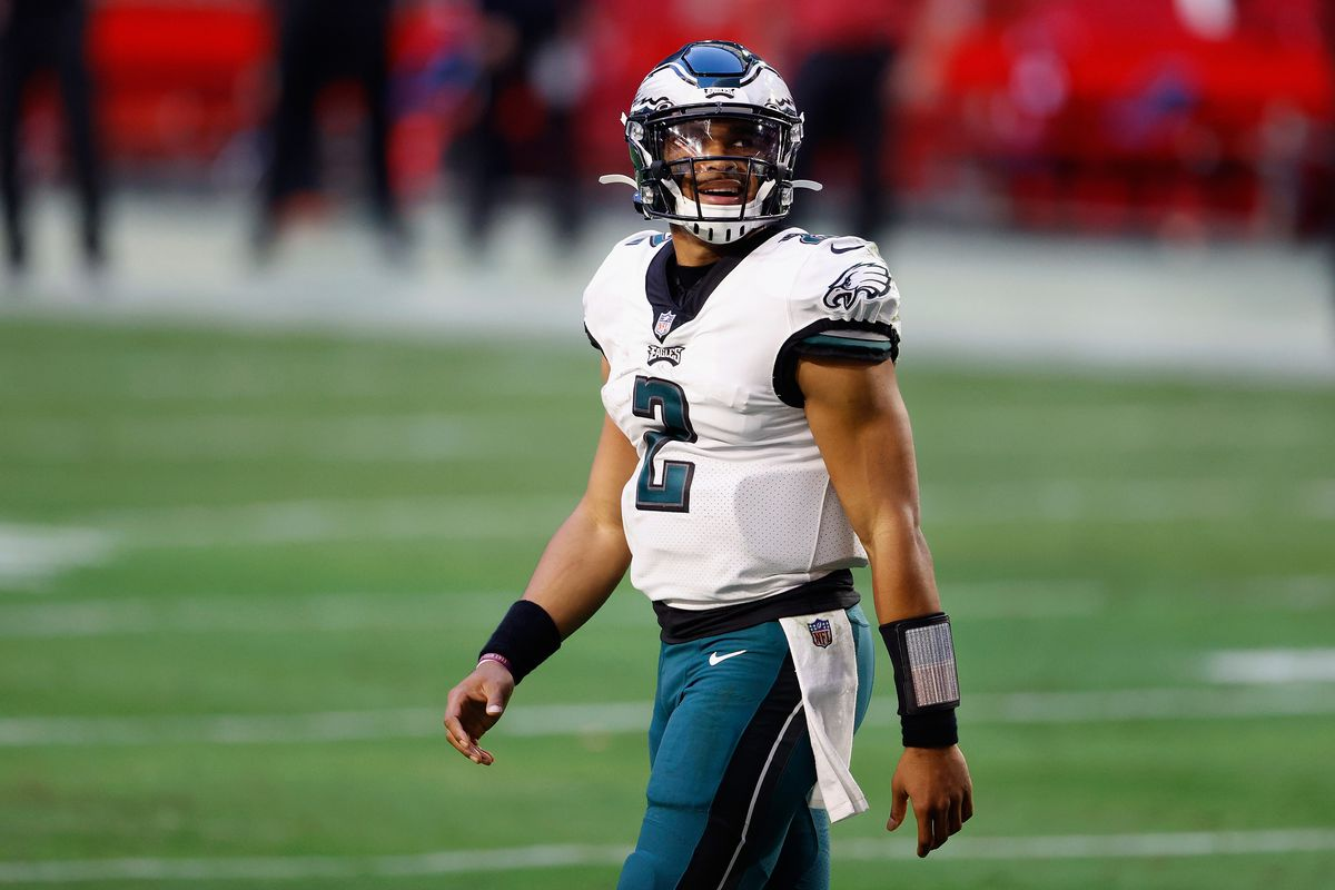 Quarterback Jalen Hurts #2 of the Philadelphia Eagles walks off the field during the NFL game against the Arizona Cardinals at State Farm Stadium on December 20, 2020 in Glendale, Arizona. The Cardinals defeated the Eagles 33-26.