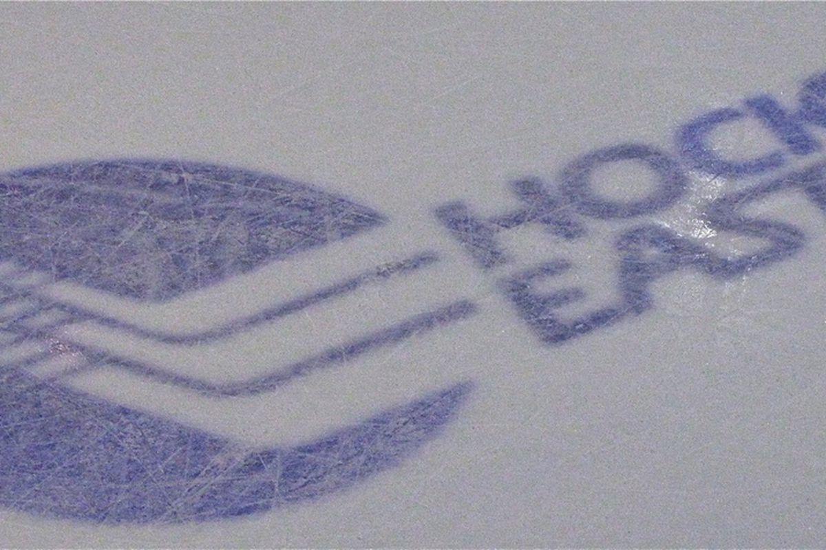 Hockey East logo on ice