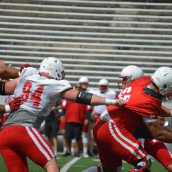 Defensive end Conor Sheehy tries to shed a blocker.